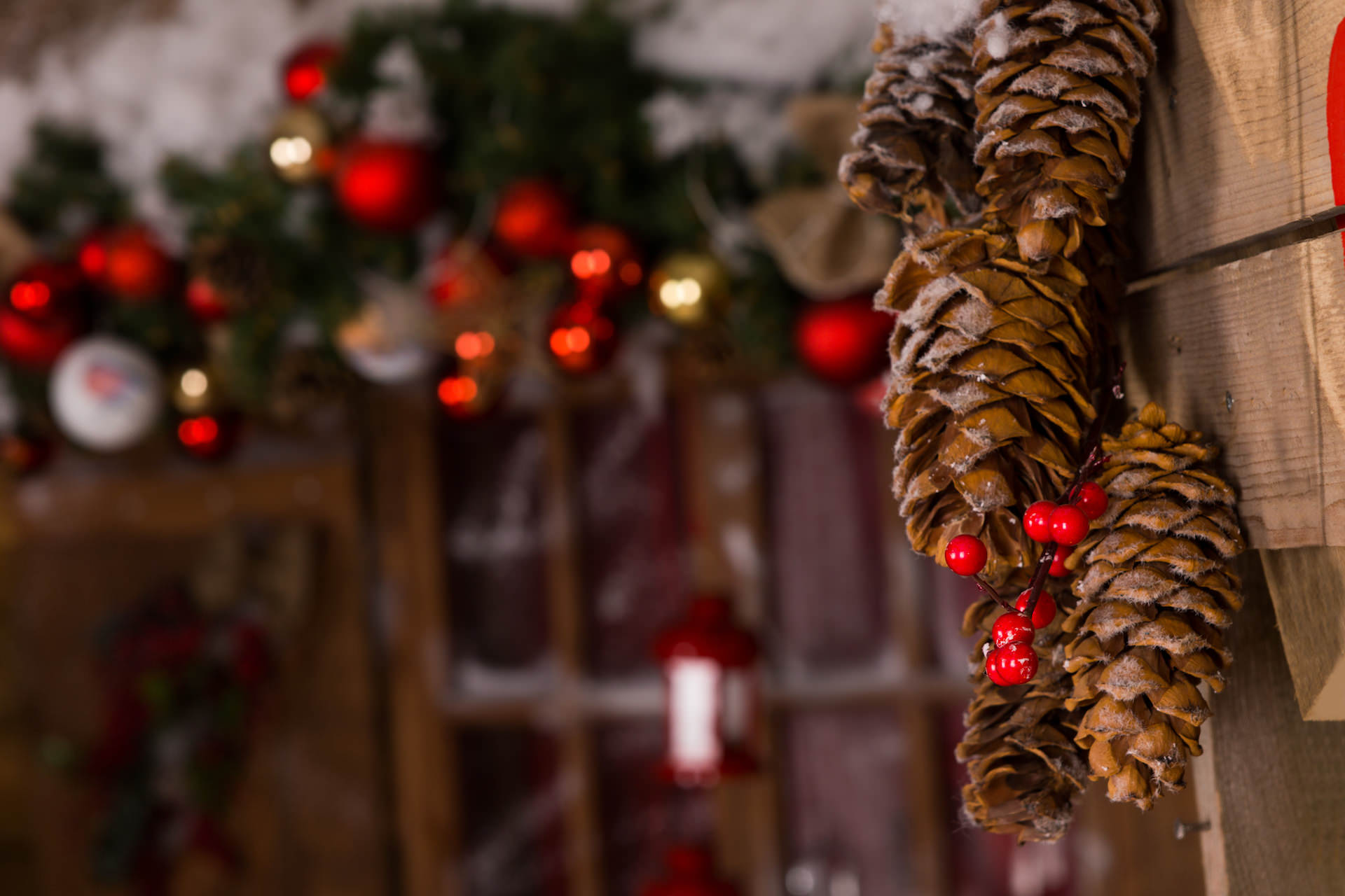 Macro Brown Pine Cone Christmas Decors with Red Cherries Hanging on Wooden Wall Inside the House.