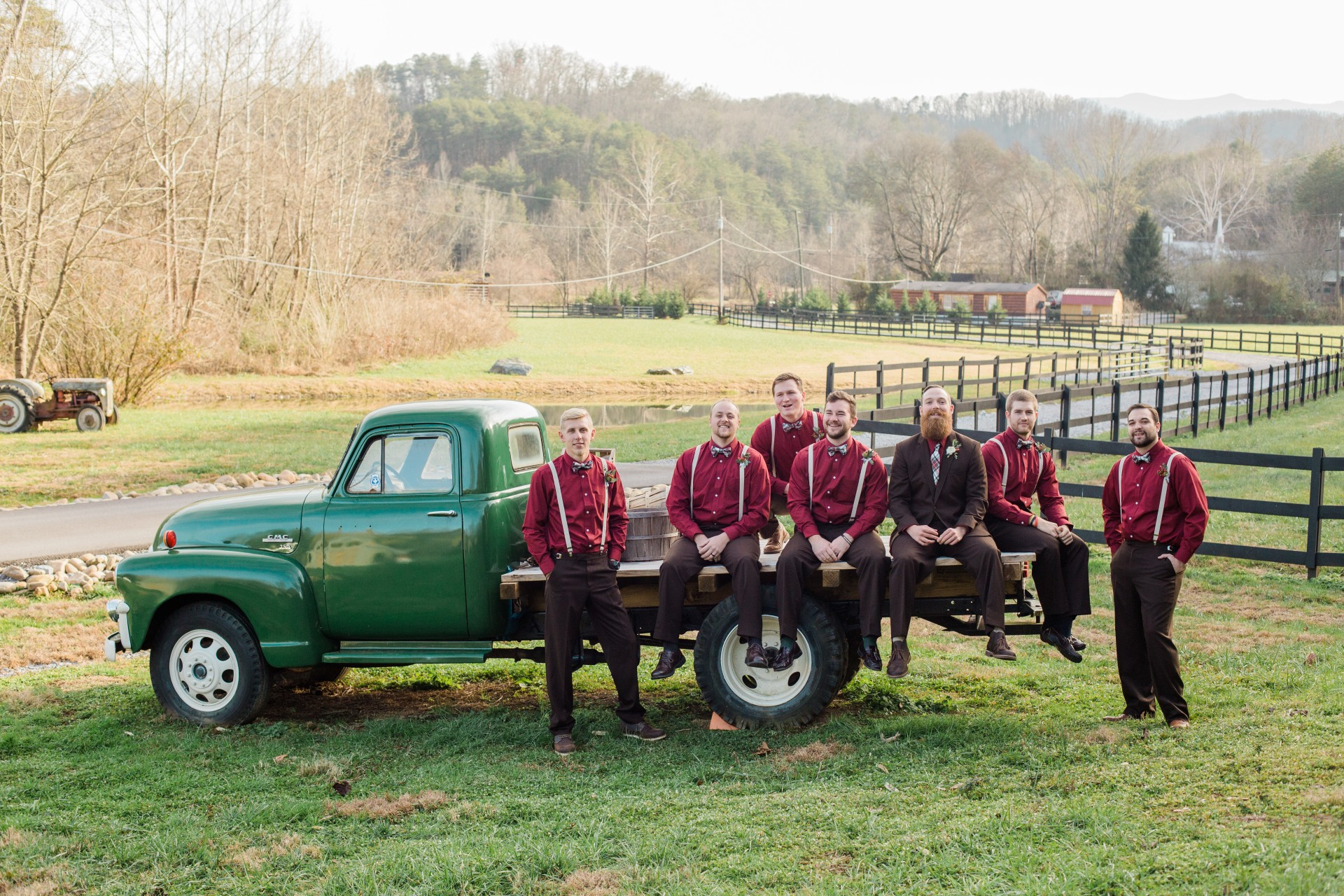 Groom's Party with Vintage Truck 4 Points Farm
