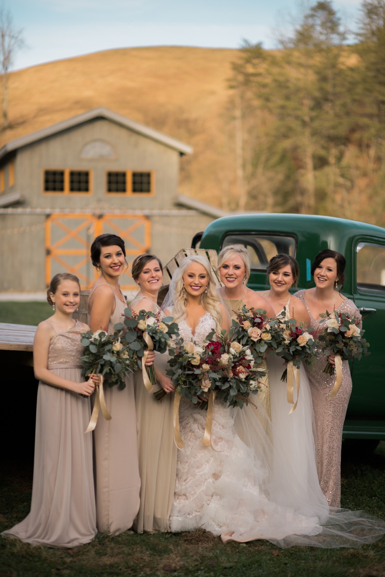 Bridal Party with Vintage Truck 4 Points Farm