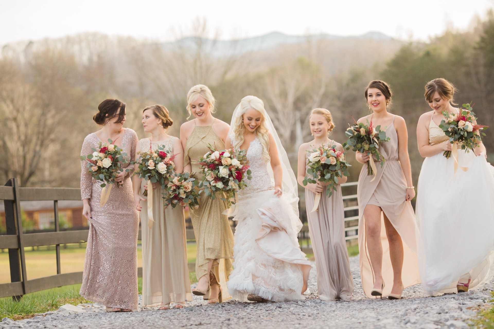 Bridal Party at 4 Points Farm Smoky Mountains