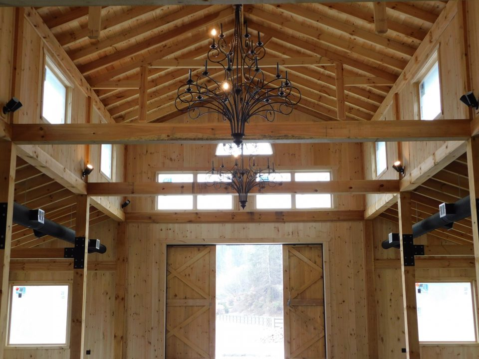 The barn is adorned with two 7-foot chandeliers. These can be dimmed to set the mood for your event.